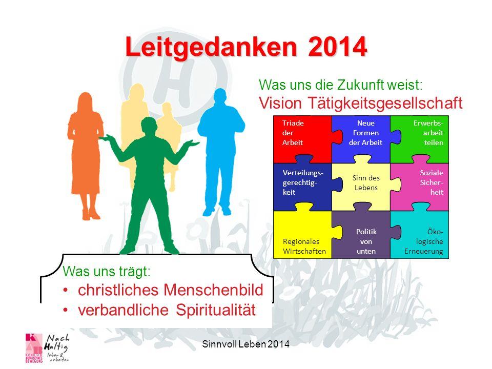 Leitgedanken 2014 Sinnvoll Leben 2014 Was uns die Zukunft weist: Vision Tätigkeitsgesellschaft Was uns trägt: christliches Menschenbild verbandliche S