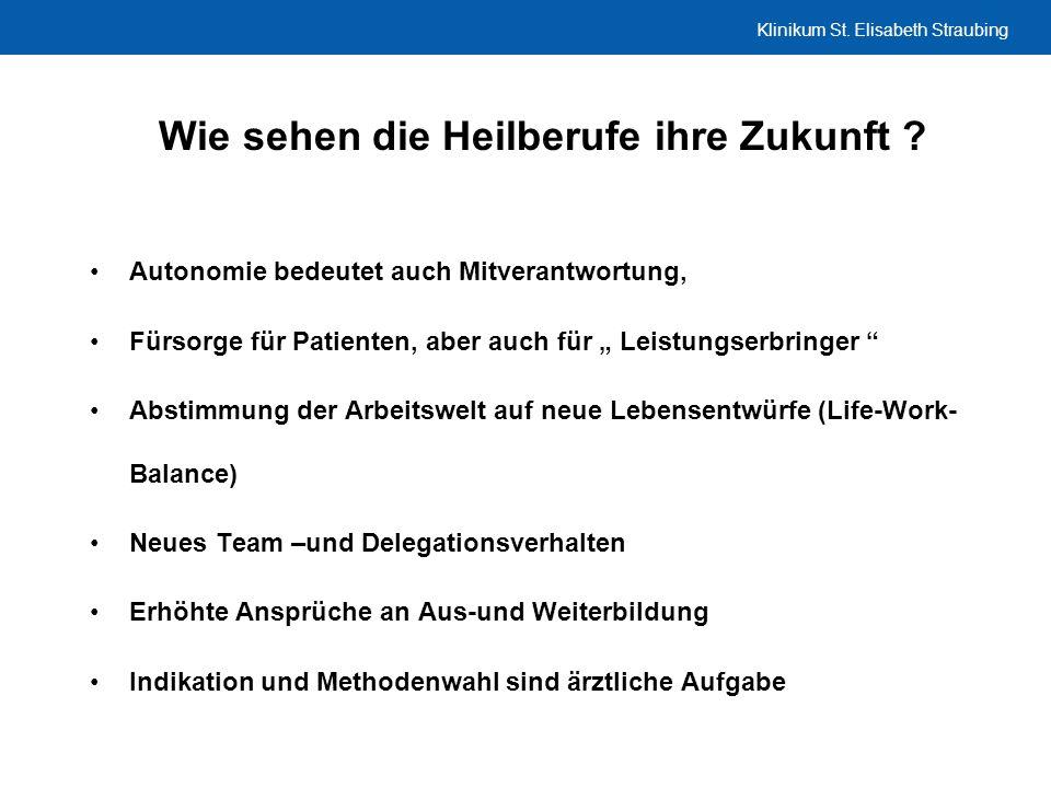 Klinikum St. Elisabeth Straubing Wie sehen die Heilberufe ihre Zukunft ? Autonomie bedeutet auch Mitverantwortung, Fürsorge für Patienten, aber auch f