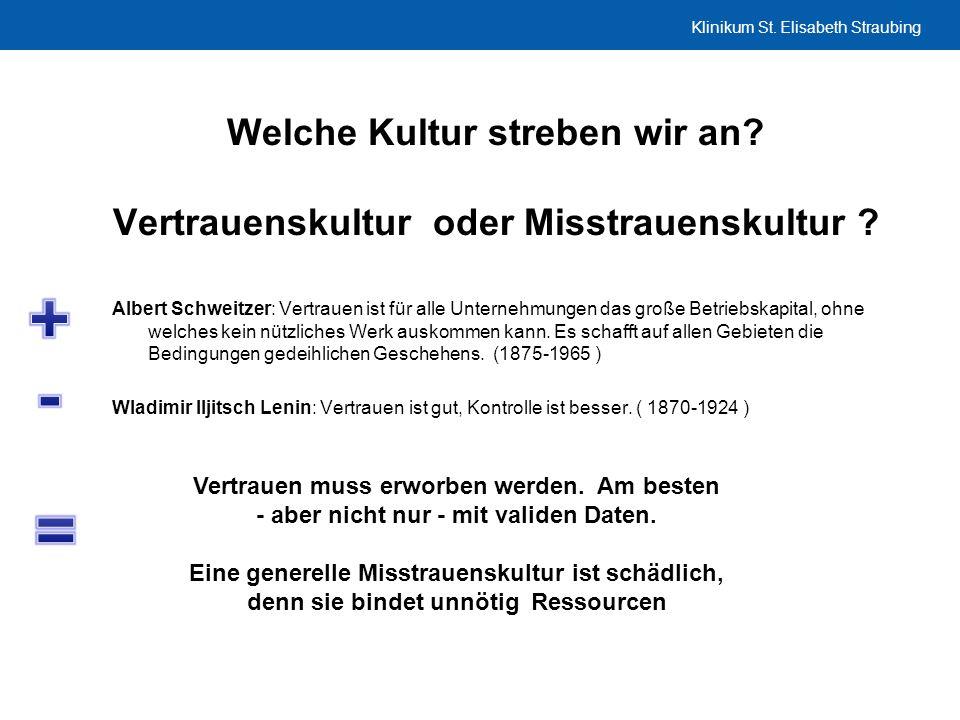 Klinikum St. Elisabeth Straubing Welche Kultur streben wir an? Vertrauenskultur oder Misstrauenskultur ? Albert Schweitzer: Vertrauen ist für alle Unt