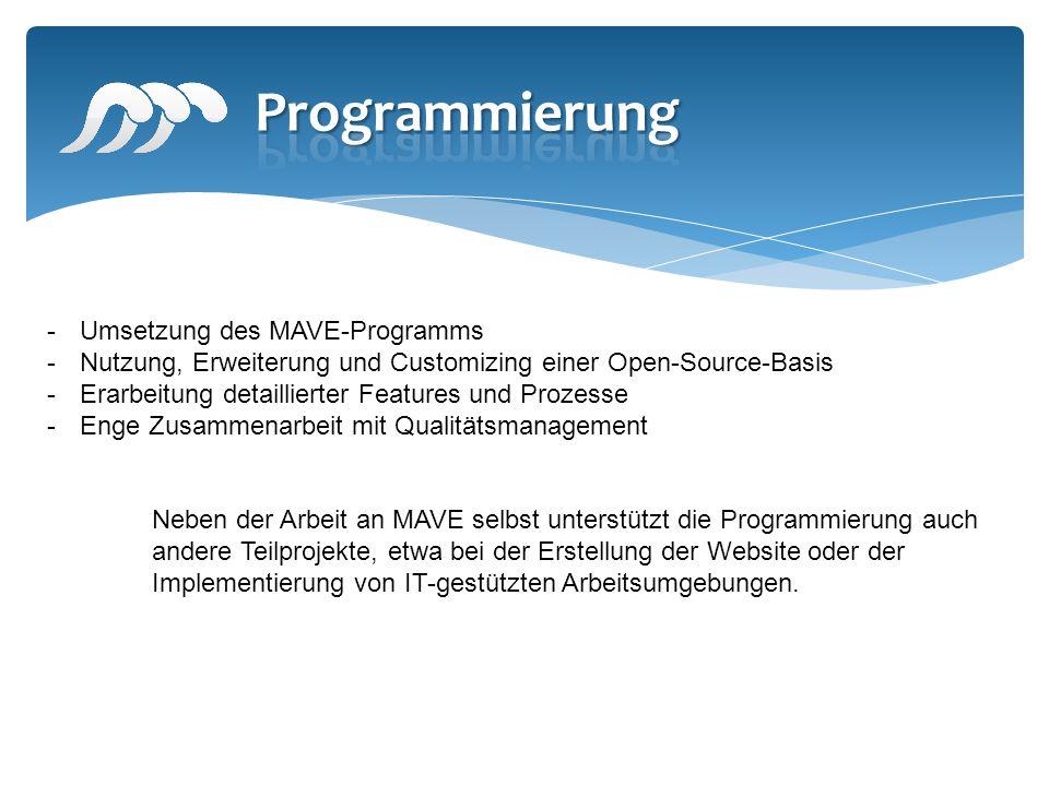 -Umsetzung des MAVE-Programms -Nutzung, Erweiterung und Customizing einer Open-Source-Basis -Erarbeitung detaillierter Features und Prozesse -Enge Zus