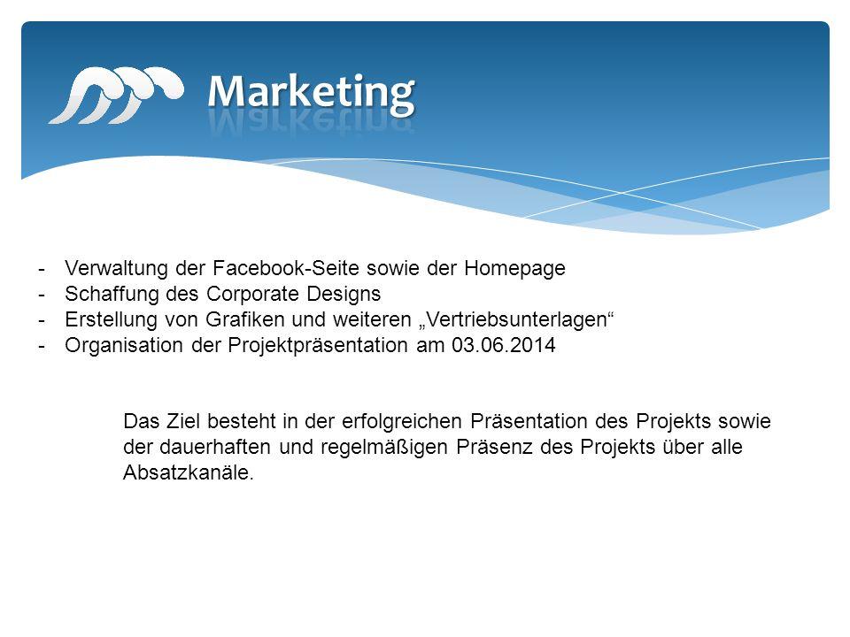 -Verwaltung der Facebook-Seite sowie der Homepage -Schaffung des Corporate Designs -Erstellung von Grafiken und weiteren Vertriebsunterlagen -Organisa