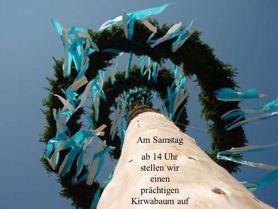 Am Samstag ab 14 Uhr stellen wir einen prächtigen Kirwabaum auf