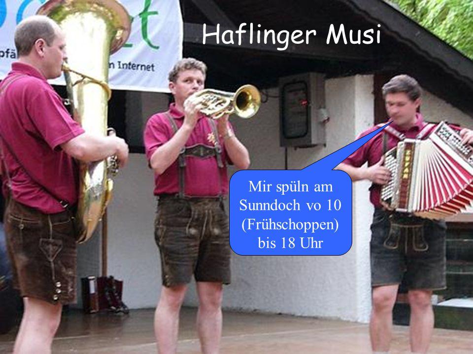 Haflinger Musi Mir spüln am Sunndoch vo 10 (Frühschoppen) bis 18 Uhr