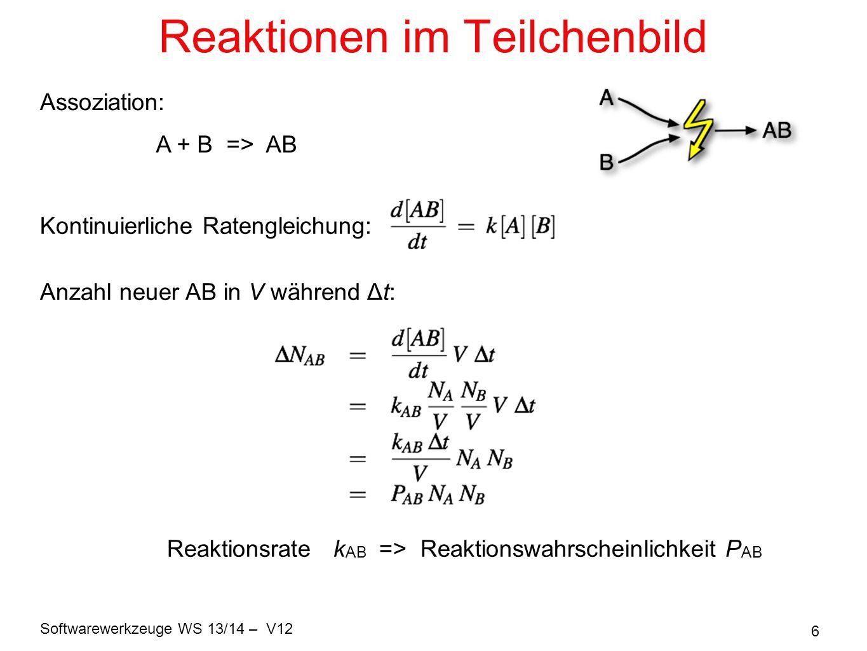 Softwarewerkzeuge WS 13/14 – V12 17 Wahrscheinlichkeit für (keine Reaktion) Wir brauchen nun g(A(t), s) Verlängere g(A(t), s) ein wenig: noch etwas A(t+s) = A(t) und sortiere um: Mit g(A, 0) = 1 ( keine Reaktion während Zeit = 0 ) => Verteilung der Wartezeiten zwischen diskreten Reaktionsereignissen: Lebensdauer = mittlere Wartezeit: