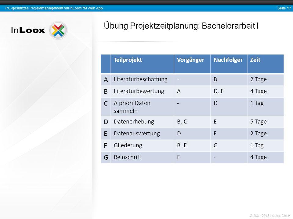 Seite 17 PC-gestütztes Projektmanagement mit InLoox PM Web App © 2001-2013 InLoox GmbH Übung Projektzeitplanung: Bachelorarbeit I TeilprojektVorgänger