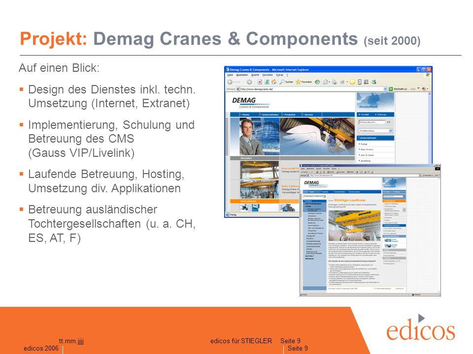 edicos 2005 Seite 9 edicos 2006 Seite 9 tt.mm.jjjjedicos für STIEGLER Projekt: Demag Cranes & Components (seit 2000) Auf einen Blick: Design des Dienstes inkl.