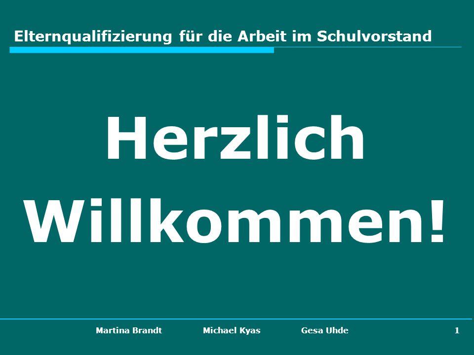 Martina Brandt Michael Kyas Gesa Uhde 1 Elternqualifizierung für die Arbeit im Schulvorstand Herzlich Willkommen!