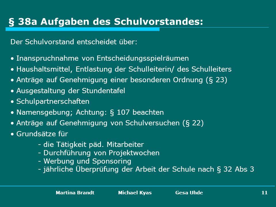 Martina Brandt Michael Kyas Gesa Uhde 11 § 38a Aufgaben des Schulvorstandes: Der Schulvorstand entscheidet über: Inanspruchnahme von Entscheidungsspie