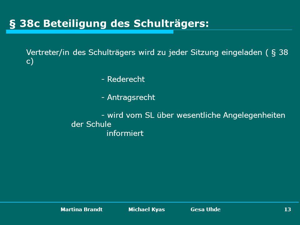 Martina Brandt Michael Kyas Gesa Uhde 13 § 38c Beteiligung des Schulträgers: Vertreter/in des Schulträgers wird zu jeder Sitzung eingeladen ( § 38 c)