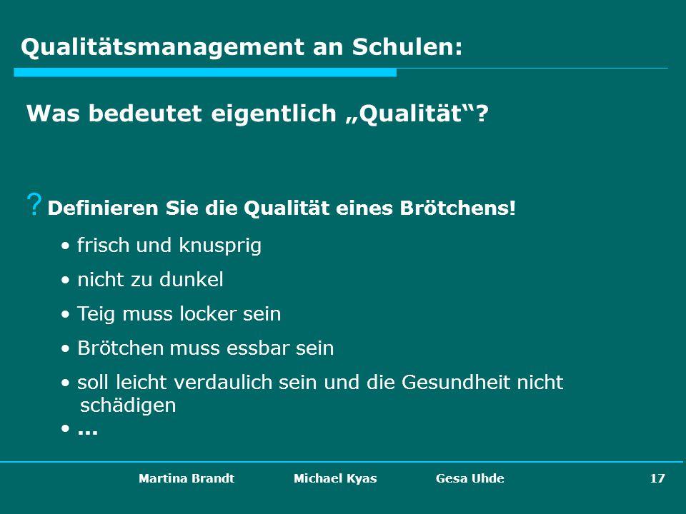 Martina Brandt Michael Kyas Gesa Uhde 17 Qualitätsmanagement an Schulen: Was bedeutet eigentlich Qualität? ? Definieren Sie die Qualität eines Brötche