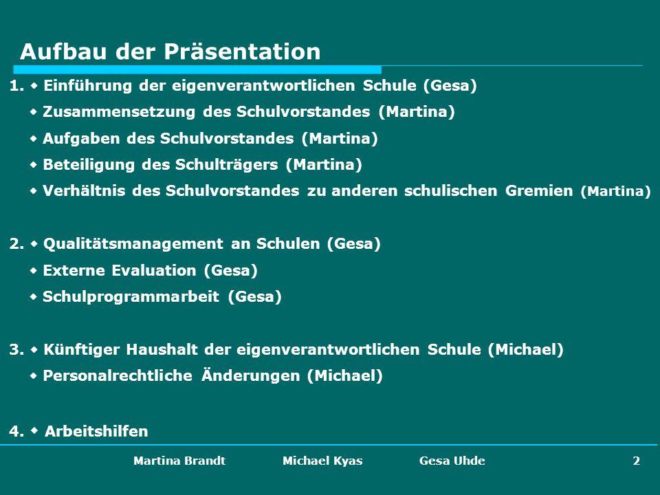 Martina Brandt Michael Kyas Gesa Uhde 2 Aufbau der Präsentation 1. Einführung der eigenverantwortlichen Schule (Gesa) Zusammensetzung des Schulvorstan