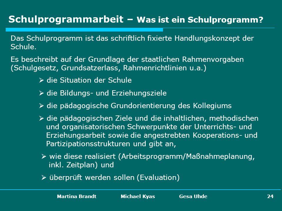 Martina Brandt Michael Kyas Gesa Uhde 24 Schulprogrammarbeit – Was ist ein Schulprogramm? Das Schulprogramm ist das schriftlich fixierte Handlungskonz