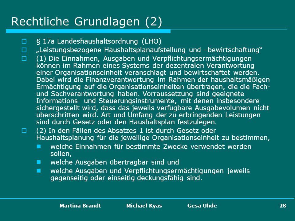Martina Brandt Michael Kyas Gesa Uhde 28 Rechtliche Grundlagen (2) § 17a Landeshaushaltsordnung (LHO) Leistungsbezogene Haushaltsplanaufstellung und –