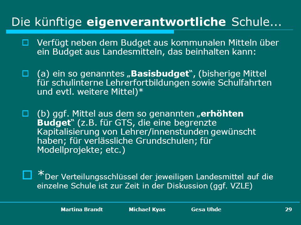 Martina Brandt Michael Kyas Gesa Uhde 29 Die künftige eigenverantwortliche Schule... Verfügt neben dem Budget aus kommunalen Mitteln über ein Budget a