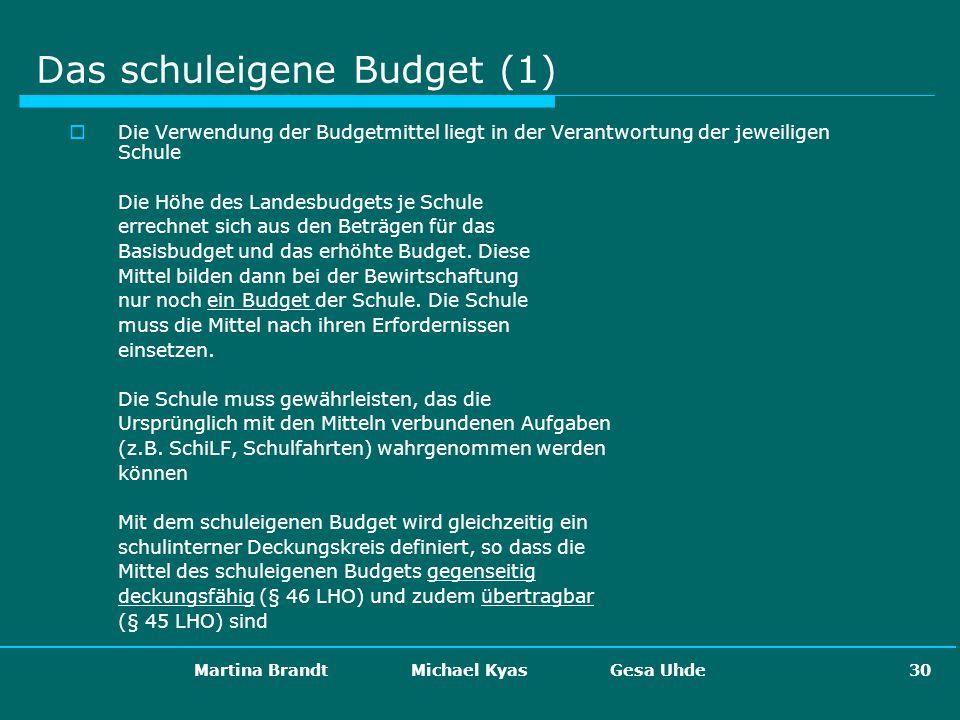 Martina Brandt Michael Kyas Gesa Uhde 30 Das schuleigene Budget (1) Die Verwendung der Budgetmittel liegt in der Verantwortung der jeweiligen Schule D