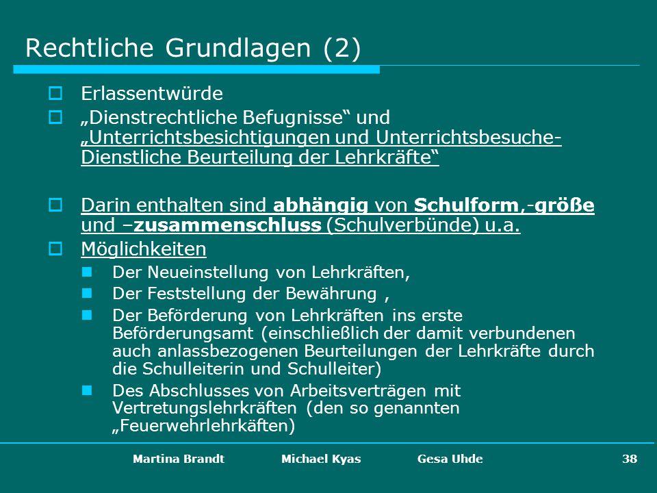 Martina Brandt Michael Kyas Gesa Uhde 38 Rechtliche Grundlagen (2) Erlassentwürde Dienstrechtliche Befugnisse und Unterrichtsbesichtigungen und Unterr