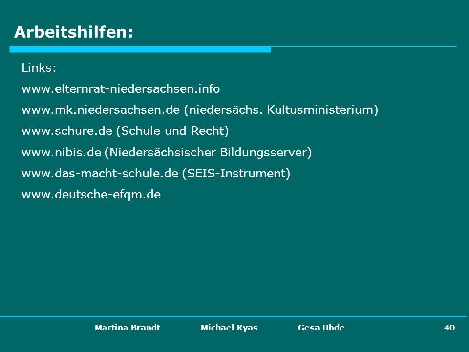 Martina Brandt Michael Kyas Gesa Uhde 40 Arbeitshilfen: Links: www.elternrat-niedersachsen.info www.mk.niedersachsen.de (niedersächs. Kultusministeriu