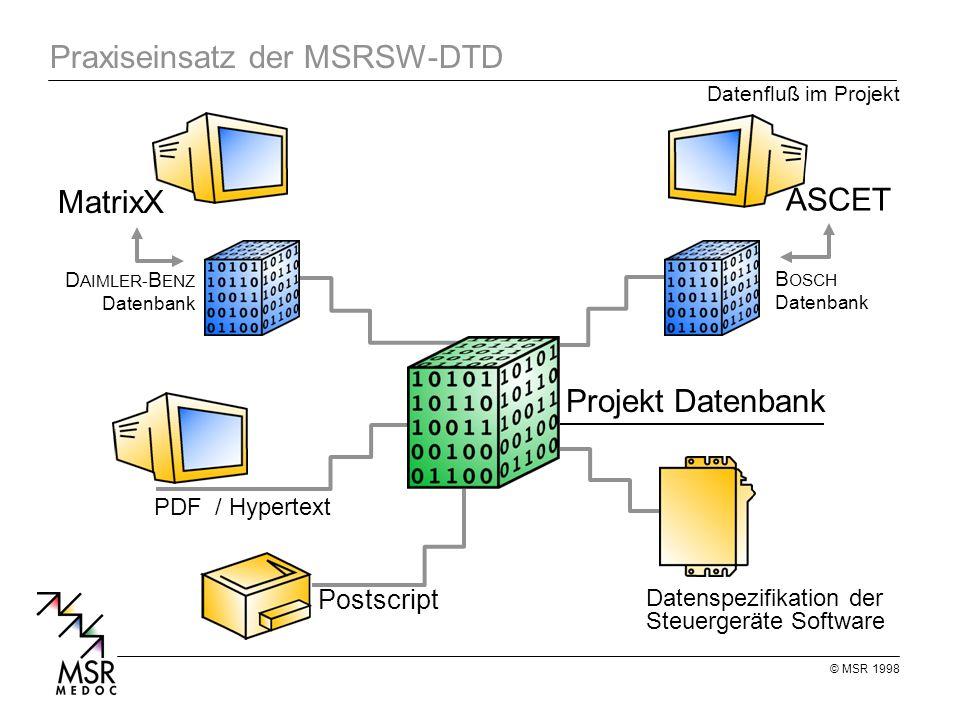 © MSR 1998 Praxiseinsatz der MSRSW-DTD MatrixX Datenspezifikation der Steuergeräte Software Projekt Datenbank Datenfluß im Projekt D AIMLER- B ENZ Datenbank PDF / Hypertext Postscript ASCET B OSCH Datenbank