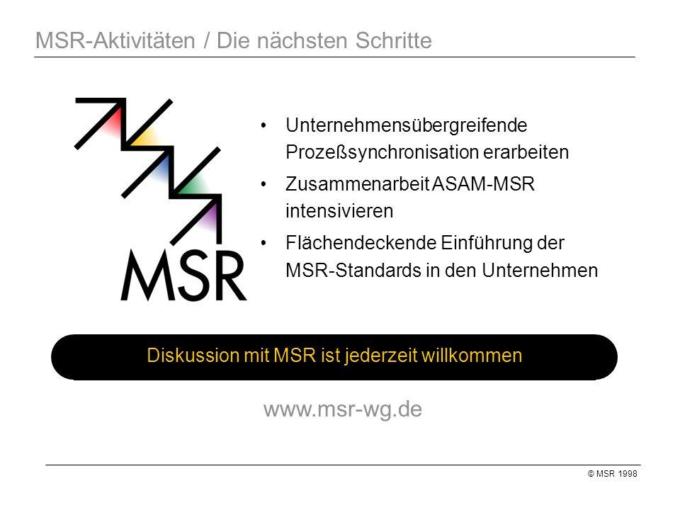 © MSR 1998 MSR-Aktivitäten / Die nächsten Schritte Diskussion mit MSR ist jederzeit willkommen Unternehmensübergreifende Prozeßsynchronisation erarbeiten Zusammenarbeit ASAM-MSR intensivieren Flächendeckende Einführung der MSR-Standards in den Unternehmen www.msr-wg.de