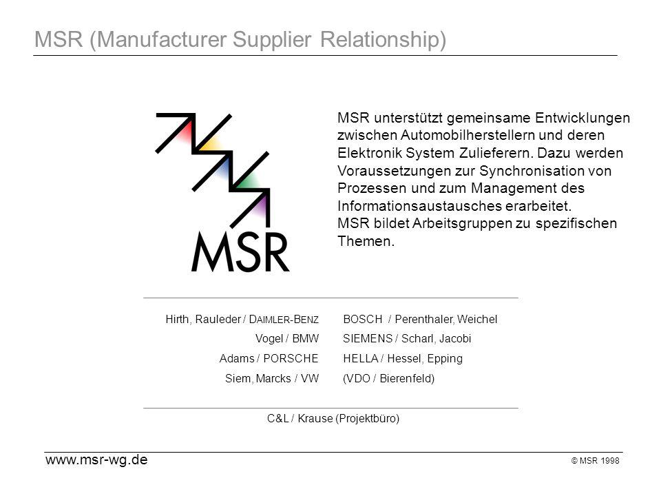 © MSR 1998 MSR (Manufacturer Supplier Relationship) MSR unterstützt gemeinsame Entwicklungen zwischen Automobilherstellern und deren Elektronik System Zulieferern.
