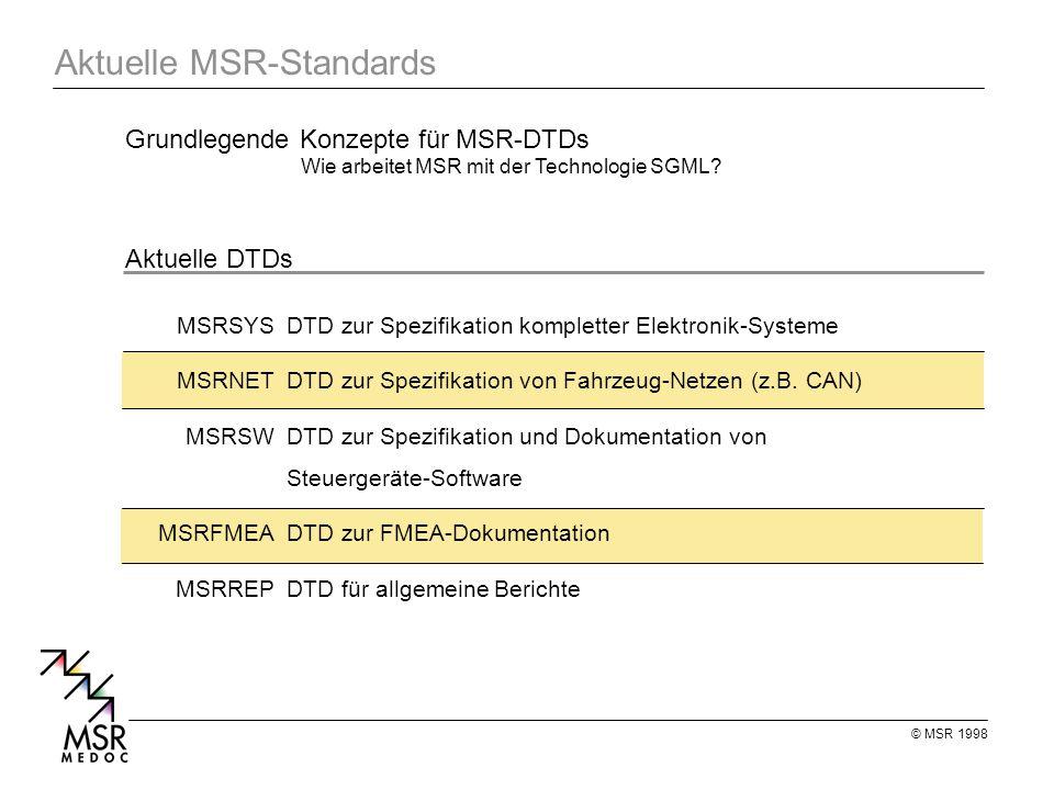 © MSR 1998 Aktuelle MSR-Standards MSRSYSDTD zur Spezifikation kompletter Elektronik-Systeme MSRNETDTD zur Spezifikation von Fahrzeug-Netzen (z.B.