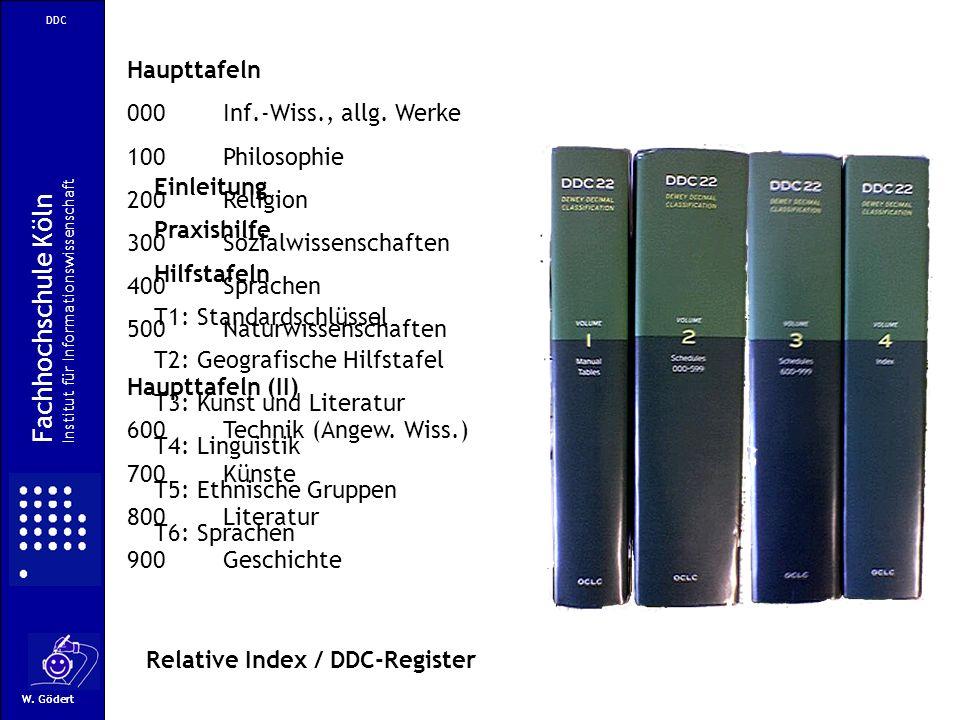DDC W. Gödert Einleitung Praxishilfe Hilfstafeln T1: Standardschlüssel T2: Geografische Hilfstafel T3: Kunst und Literatur T4: Linguistik T5: Ethnisch
