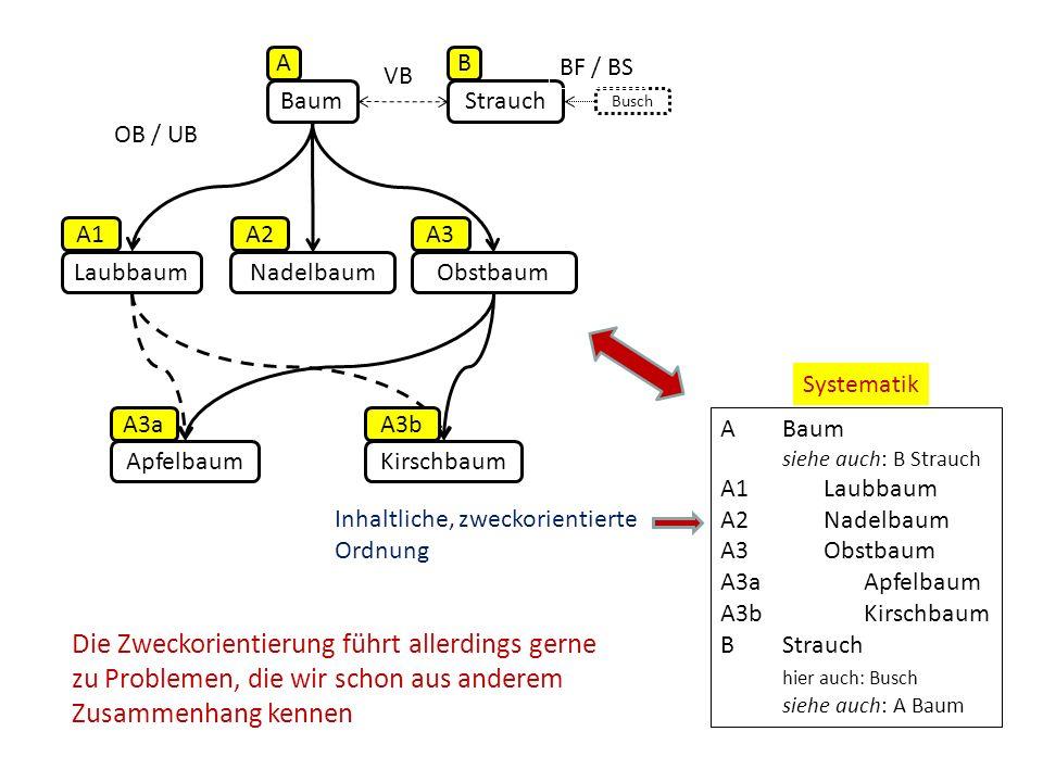 BaumStrauch Busch LaubbaumObstbaumNadelbaum ApfelbaumKirschbaum OB / UB VB BF / BS AB A1A2A3 A3aA3b ABaum siehe auch: B Strauch A1Laubbaum A2Nadelbaum