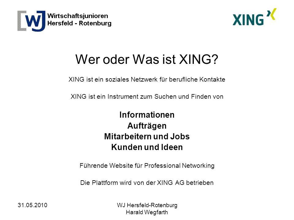 31.05.2010WJ Hersfeld-Rotenburg Harald Wegfarth Wer oder Was ist XING.