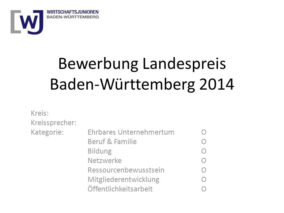 Bewerbung Landespreis Baden-Württemberg 2014 Kreis: Kreissprecher: Kategorie: Ehrbares UnternehmertumO Beruf & FamilieO BildungO NetzwerkeO Ressourcen