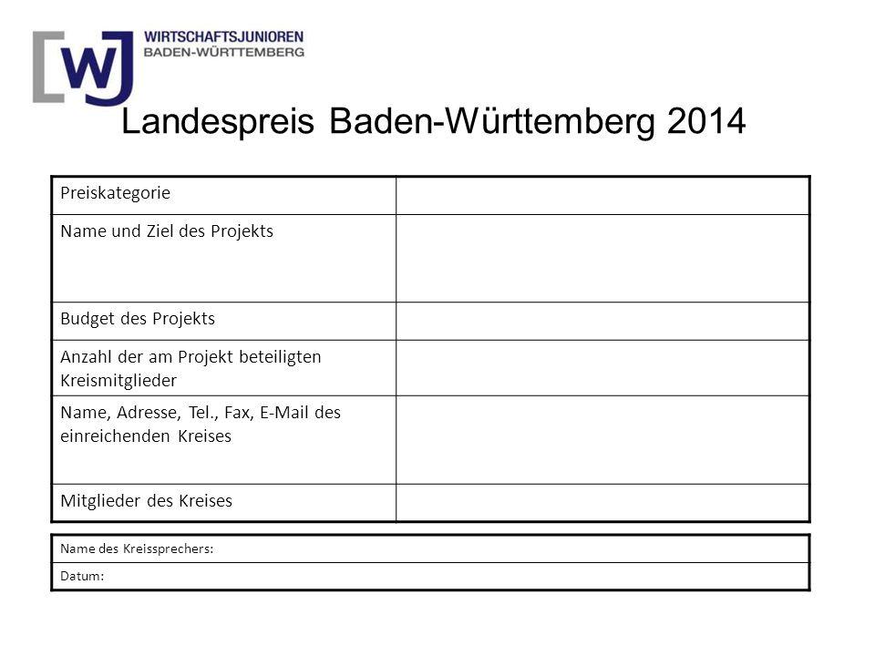 Landespreis Baden-Württemberg 2014 Preiskategorie Name und Ziel des Projekts Budget des Projekts Anzahl der am Projekt beteiligten Kreismitglieder Nam