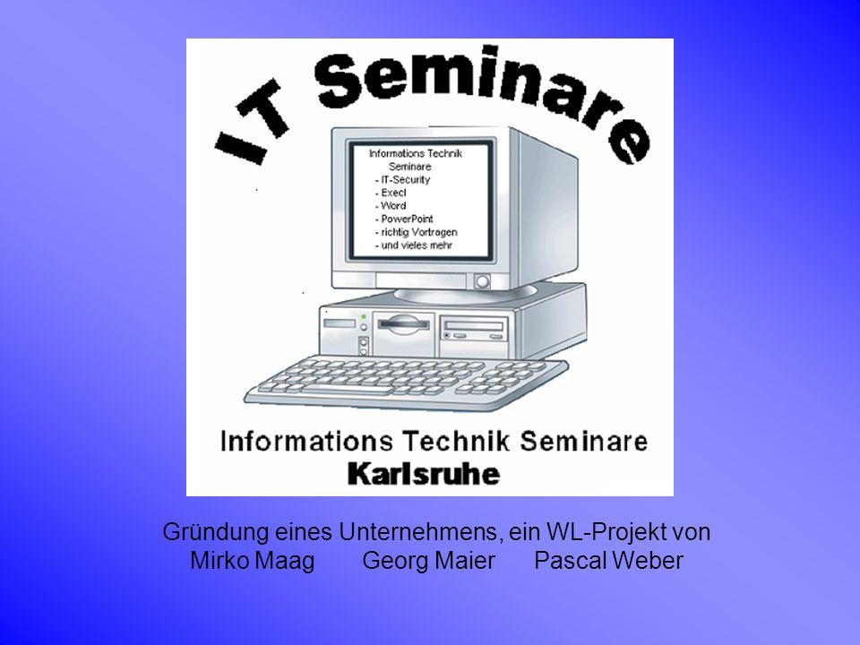 Produktidee des Unternehmens Die Produktidee und somit der Gegenstand des Unternehmens sind Seminare, die von den 3 Besitzern Mirko Maag, Georg Maier und Pascal Weber gehalten werden.