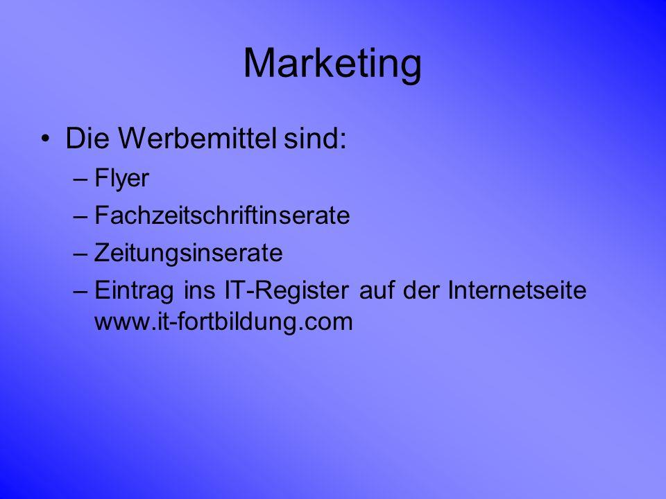 Marketing Die Werbemittel sind: –Flyer –Fachzeitschriftinserate –Zeitungsinserate –Eintrag ins IT-Register auf der Internetseite www.it-fortbildung.co