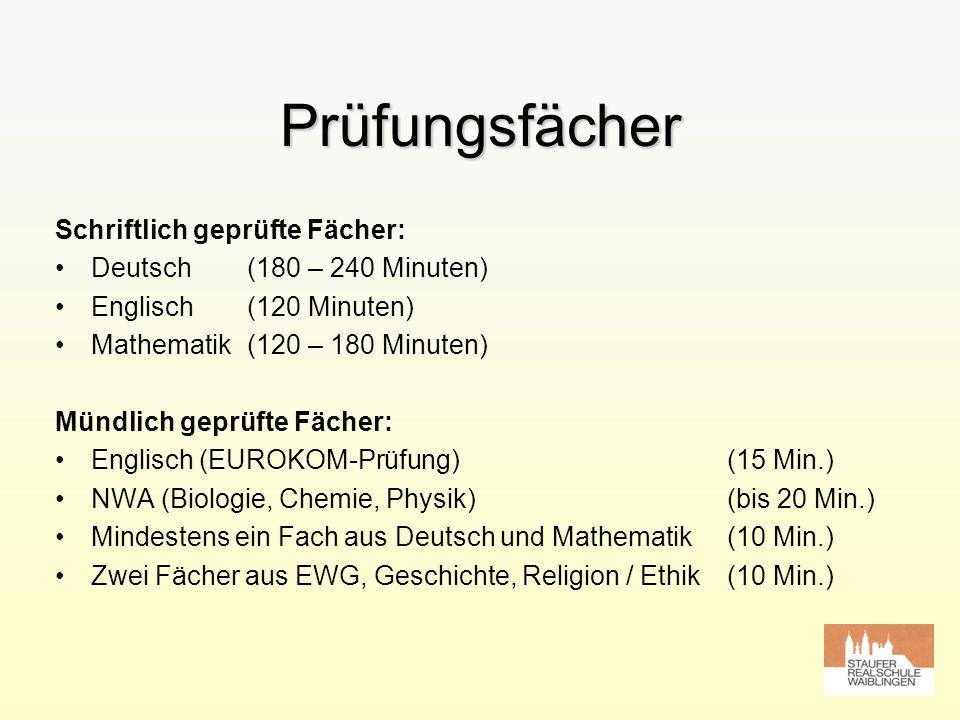 Prüfungsfächer Schriftlich geprüfte Fächer: Deutsch(180 – 240 Minuten) Englisch(120 Minuten) Mathematik(120 – 180 Minuten) Mündlich geprüfte Fächer: E