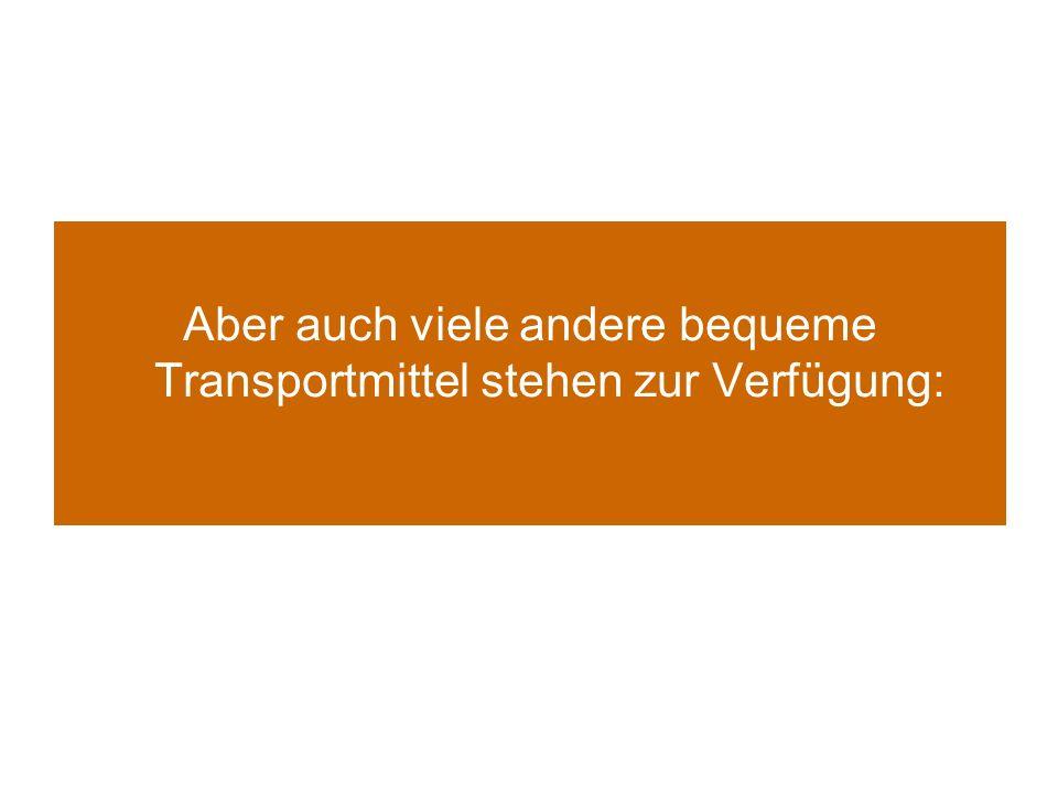 Aber auch viele andere bequeme Transportmittel stehen zur Verfügung: