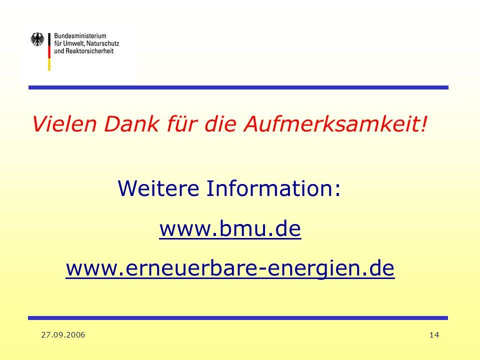 27.09.200614 Vielen Dank für die Aufmerksamkeit! Weitere Information: www.bmu.de www.erneuerbare-energien.de
