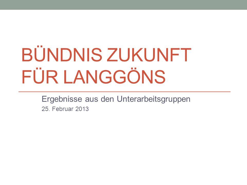BÜNDNIS ZUKUNFT FÜR LANGGÖNS Ergebnisse aus den Unterarbeitsgruppen 25. Februar 2013