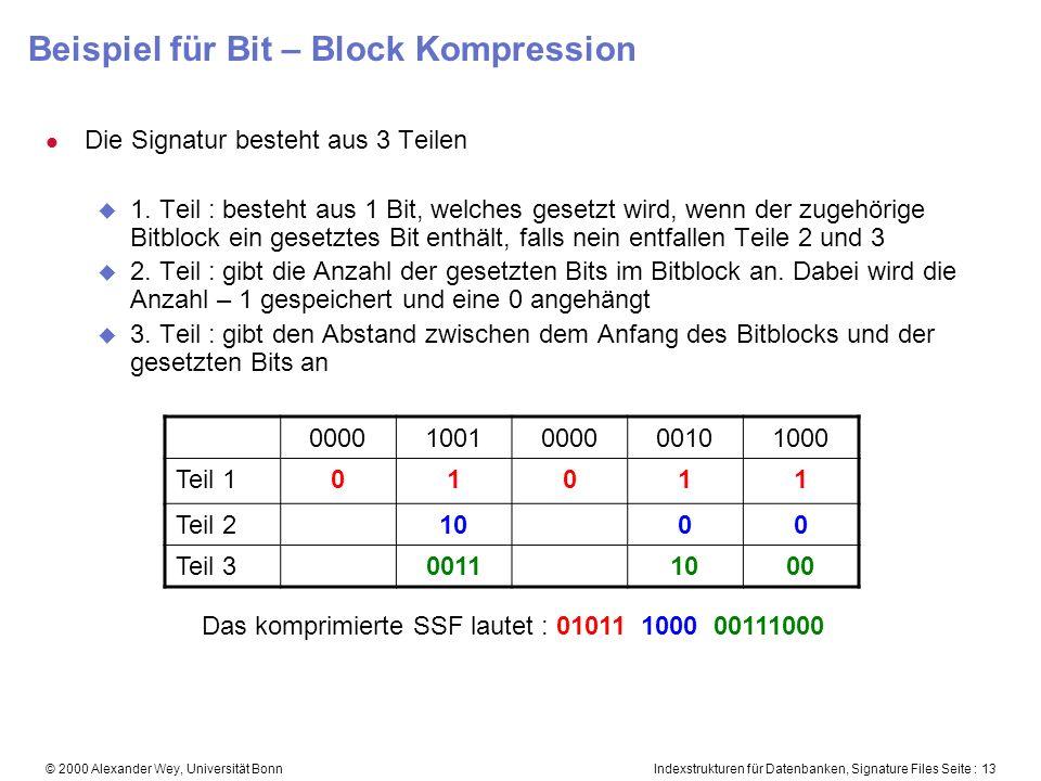 Indexstrukturen für Datenbanken, Signature Files Seite : 13© 2000 Alexander Wey, Universität Bonn Beispiel für Bit – Block Kompression l Die Signatur besteht aus 3 Teilen u 1.