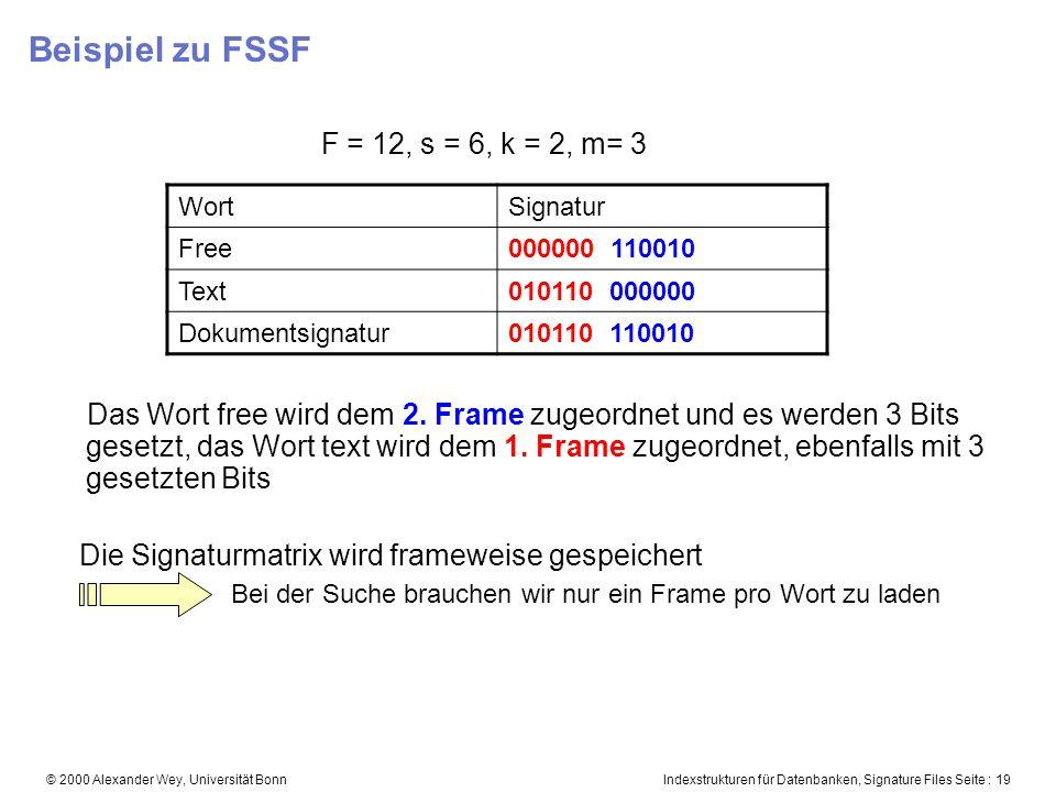 Indexstrukturen für Datenbanken, Signature Files Seite : 19© 2000 Alexander Wey, Universität Bonn Beispiel zu FSSF F = 12, s = 6, k = 2, m= 3 Das Wort free wird dem 2.