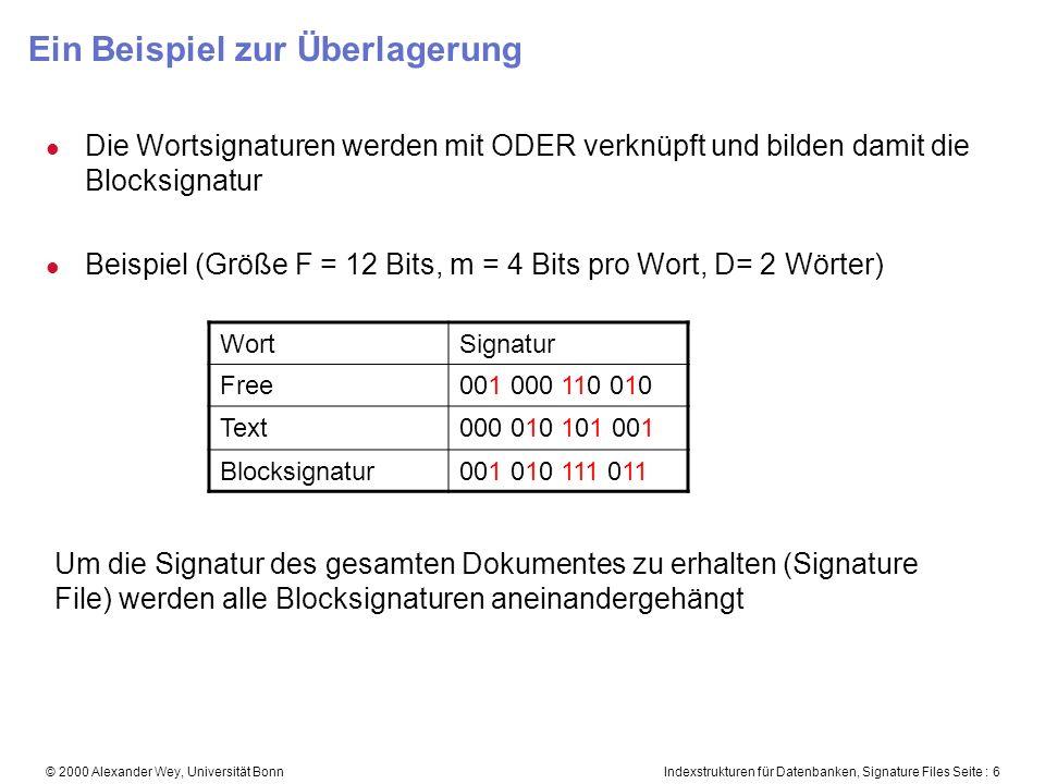 Indexstrukturen für Datenbanken, Signature Files Seite : 6© 2000 Alexander Wey, Universität Bonn Ein Beispiel zur Überlagerung l Die Wortsignaturen werden mit ODER verknüpft und bilden damit die Blocksignatur l Beispiel (Größe F = 12 Bits, m = 4 Bits pro Wort, D= 2 Wörter) WortSignatur Free001 000 110 010 Text000 010 101 001 Blocksignatur001 010 111 011 Um die Signatur des gesamten Dokumentes zu erhalten (Signature File) werden alle Blocksignaturen aneinandergehängt