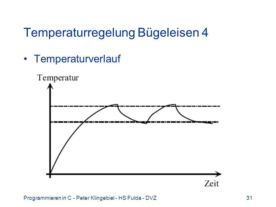 Programmieren in C - Peter Klingebiel - HS Fulda - DVZ31 Temperaturregelung Bügeleisen 4 Temperaturverlauf