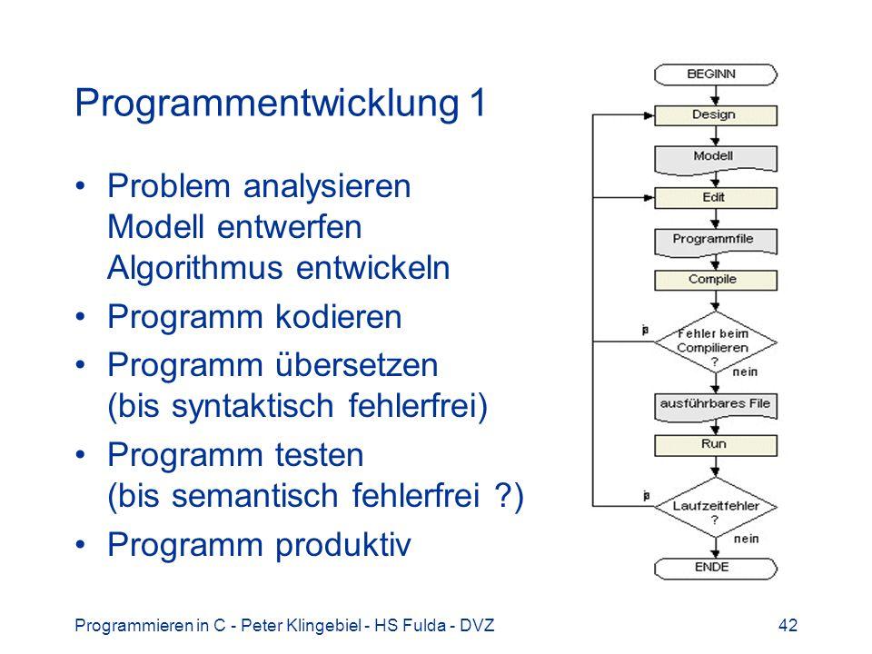 Programmieren in C - Peter Klingebiel - HS Fulda - DVZ42 Programmentwicklung 1 Problem analysieren Modell entwerfen Algorithmus entwickeln Programm ko