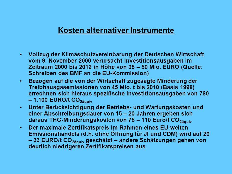 Kosten alternativer Instrumente Vollzug der Klimaschutzvereinbarung der Deutschen Wirtschaft vom 9.