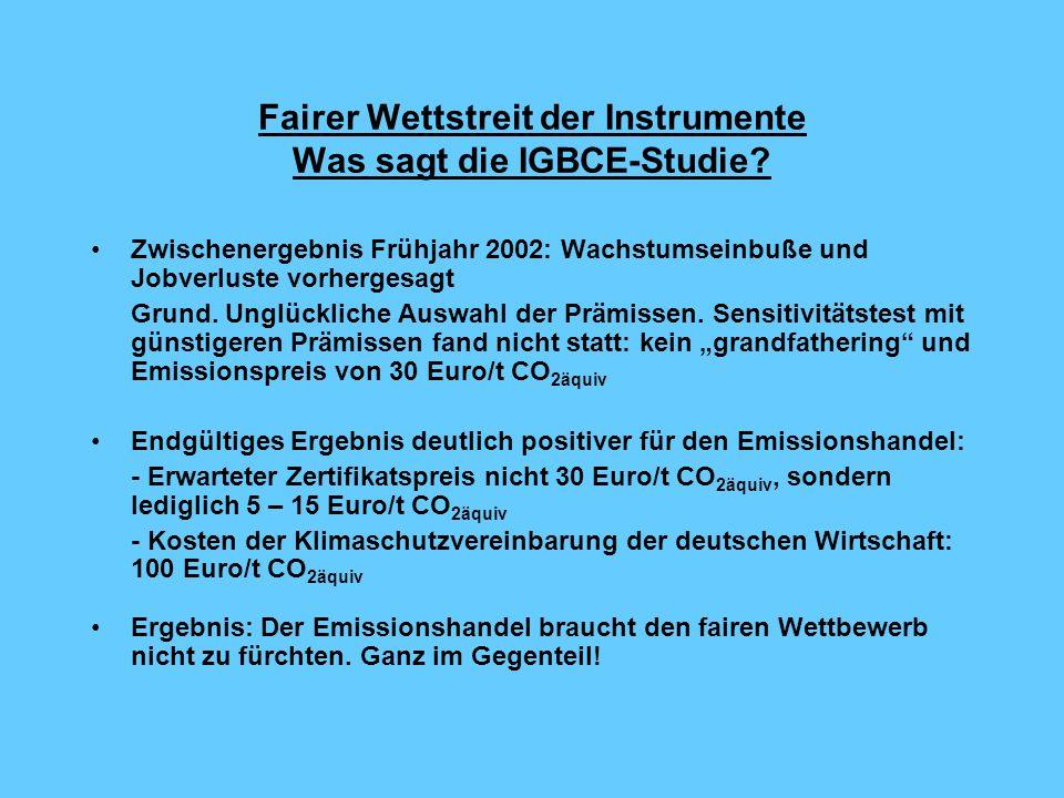 Fairer Wettstreit der Instrumente Was sagt die IGBCE-Studie.