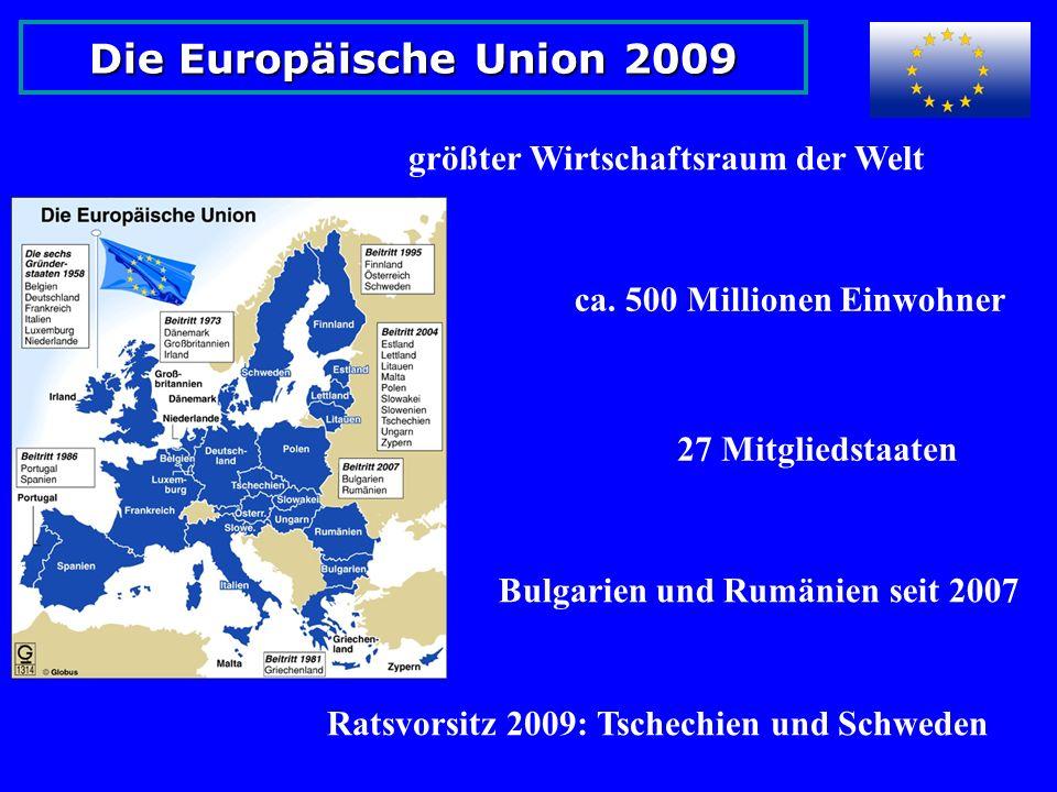 Die Europäische Union 2009 größter Wirtschaftsraum der Welt ca.