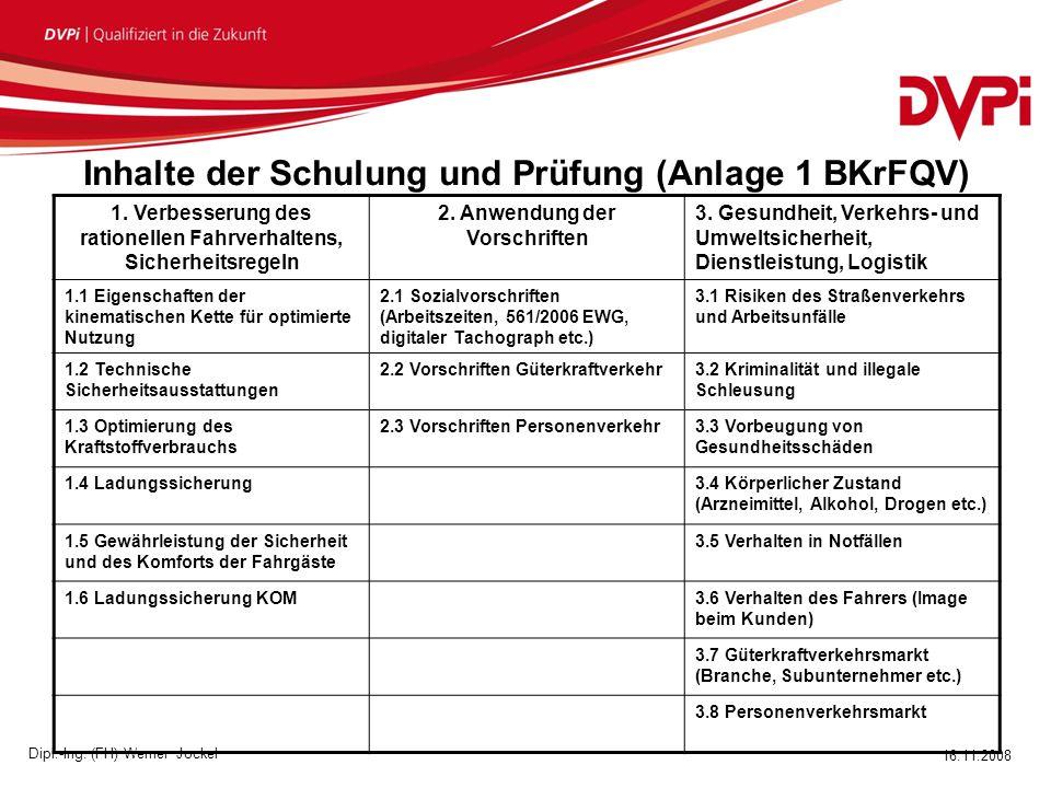 16.11.2008 Dipl.-Ing.(FH) Werner Jockel Inhalte der Schulung und Prüfung (Anlage 1 BKrFQV) 1.