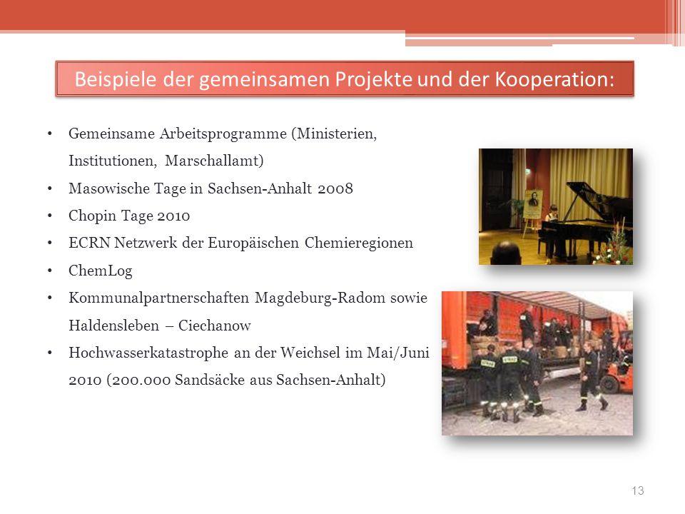13 Gemeinsame Arbeitsprogramme (Ministerien, Institutionen, Marschallamt) Masowische Tage in Sachsen-Anhalt 2008 Chopin Tage 2010 ECRN Netzwerk der Eu