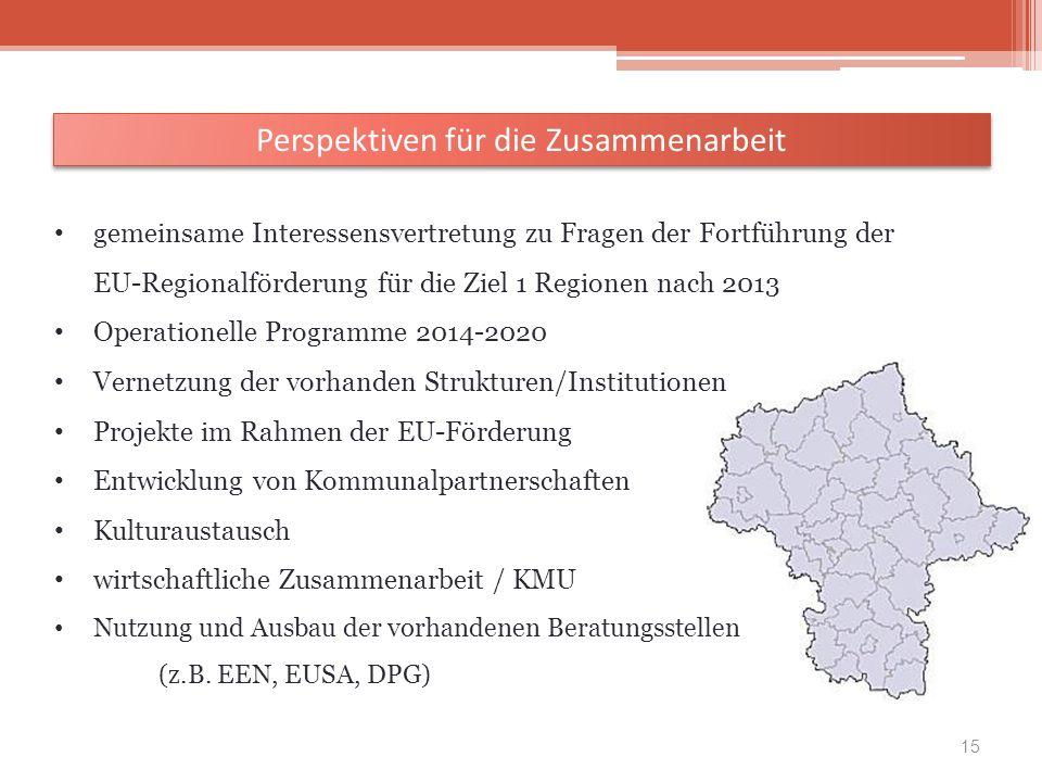 gemeinsame Interessensvertretung zu Fragen der Fortführung der EU-Regionalförderung für die Ziel 1 Regionen nach 2013 Operationelle Programme 2014-202