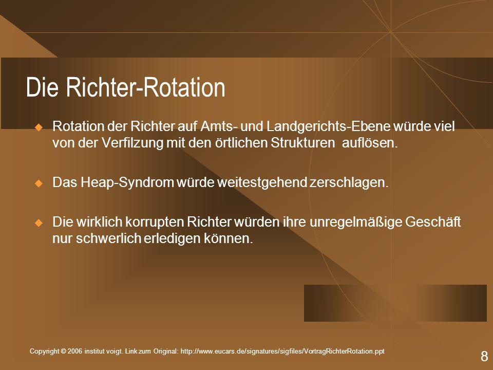 Copyright © 2006 institut voigt. Link zum Original: http://www.eucars.de/signatures/sigfiles/VortragRichterRotation.ppt 8 Die Richter-Rotation Rotatio