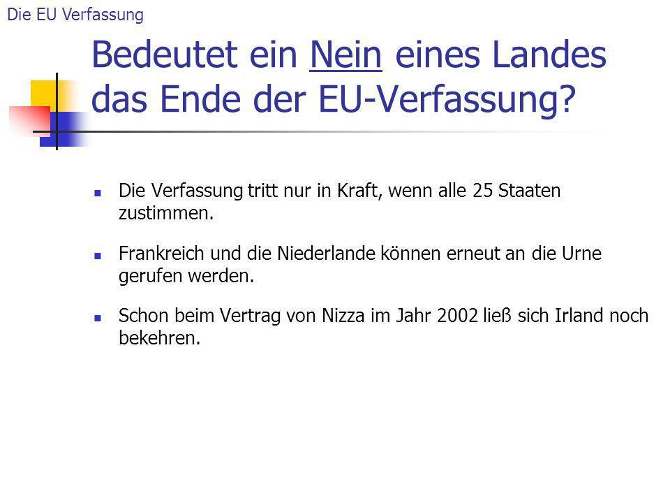 Bedeutet ein Nein eines Landes das Ende der EU-Verfassung? Die Verfassung tritt nur in Kraft, wenn alle 25 Staaten zustimmen. Frankreich und die Niede