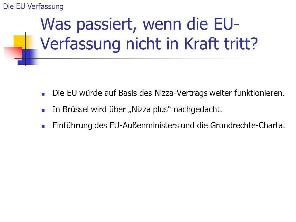 Was passiert, wenn die EU- Verfassung nicht in Kraft tritt? Die EU würde auf Basis des Nizza-Vertrags weiter funktionieren. In Brüssel wird über Nizza